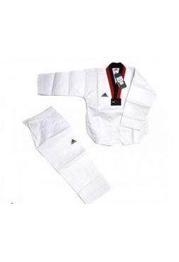 Детский добок Adidas для тхэквондо WTF Adi-Start белый с красно-черным воротником