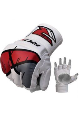 Перчатки MMA RDX Leather-X White/Red