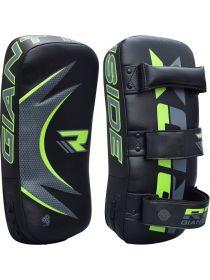 Тайские пады RDX MMA Synthetic Leather черно-зеленые